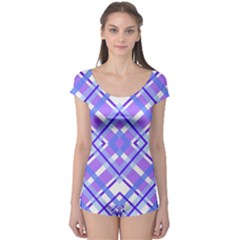 Geometric Plaid Pale Purple Blue Boyleg Leotard