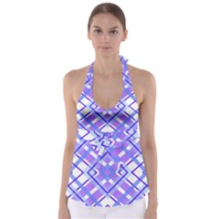 Geometric Plaid Pale Purple Blue Babydoll Tankini Top