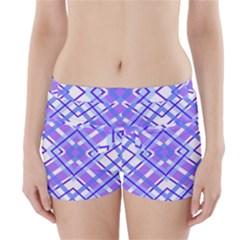 Geometric Plaid Pale Purple Blue Boyleg Bikini Wrap Bottoms