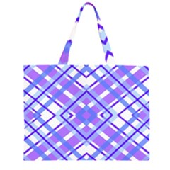 Geometric Plaid Pale Purple Blue Large Tote Bag