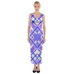 Geometric Plaid Pale Purple Blue Fitted Maxi Dress