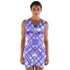 Geometric Plaid Pale Purple Blue Wrap Front Bodycon Dress