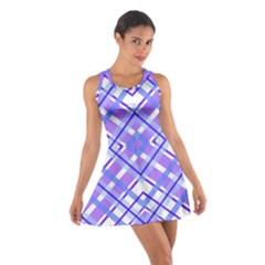 Geometric Plaid Pale Purple Blue Cotton Racerback Dress