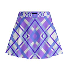 Geometric Plaid Pale Purple Blue Mini Flare Skirt