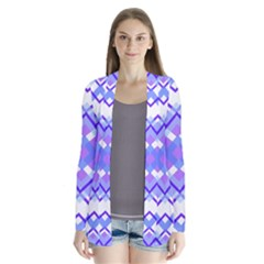 Geometric Plaid Pale Purple Blue Cardigans