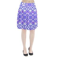 Geometric Plaid Pale Purple Blue Pleated Skirt