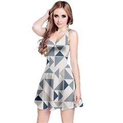 Geometric Triangle Modern Mosaic Reversible Sleeveless Dress