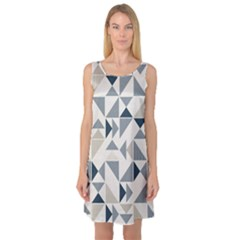 Geometric Triangle Modern Mosaic Sleeveless Satin Nightdress