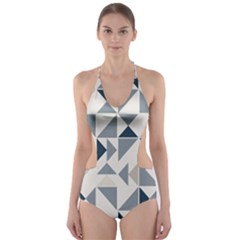 Geometric Triangle Modern Mosaic Cut Out One Piece Swimsuit
