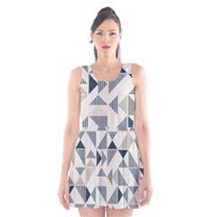 Geometric Triangle Modern Mosaic Scoop Neck Skater Dress