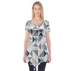Geometric Triangle Modern Mosaic Short Sleeve Tunic