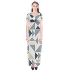 Geometric Triangle Modern Mosaic Short Sleeve Maxi Dress