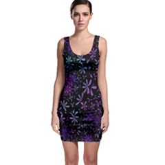 Retro Flower Pattern Design Batik Sleeveless Bodycon Dress