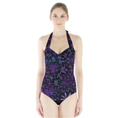 Retro Flower Pattern Design Batik Halter Swimsuit