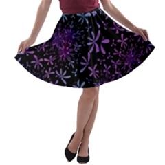 Retro Flower Pattern Design Batik A Line Skater Skirt