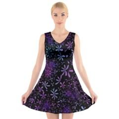 Retro Flower Pattern Design Batik V-Neck Sleeveless Skater Dress