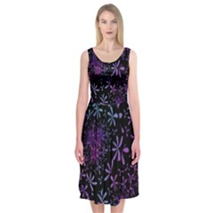 Retro Flower Pattern Design Batik Midi Sleeveless Dress