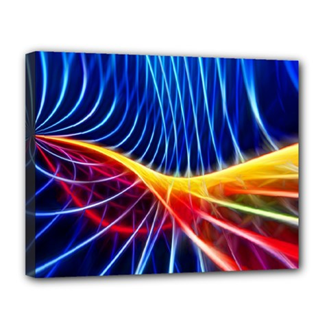 Color Colorful Wave Abstract Canvas 14  X 11
