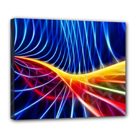 Color Colorful Wave Abstract Deluxe Canvas 24  X 20