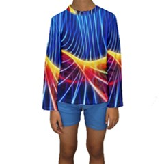 Color Colorful Wave Abstract Kids  Long Sleeve Swimwear