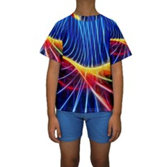 Color Colorful Wave Abstract Kids  Short Sleeve Swimwear