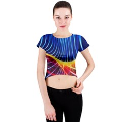 Color Colorful Wave Abstract Crew Neck Crop Top