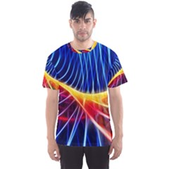 Color Colorful Wave Abstract Men s Sport Mesh Tee