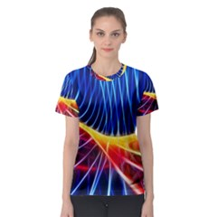 Color Colorful Wave Abstract Women s Sport Mesh Tee