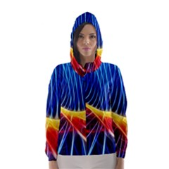 Color Colorful Wave Abstract Hooded Wind Breaker (women)