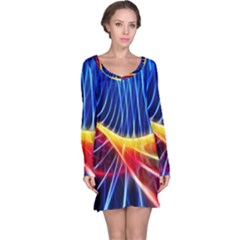 Color Colorful Wave Abstract Long Sleeve Nightdress