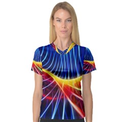 Color Colorful Wave Abstract Women s V Neck Sport Mesh Tee