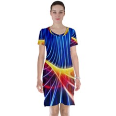 Color Colorful Wave Abstract Short Sleeve Nightdress