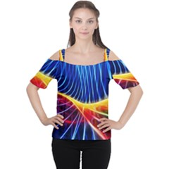Color Colorful Wave Abstract Women s Cutout Shoulder Tee