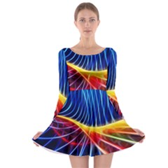Color Colorful Wave Abstract Long Sleeve Skater Dress