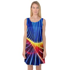 Color Colorful Wave Abstract Sleeveless Satin Nightdress