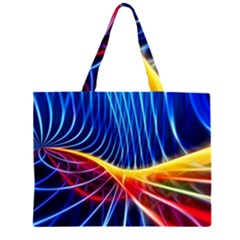 Color Colorful Wave Abstract Large Tote Bag