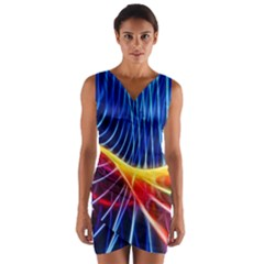Color Colorful Wave Abstract Wrap Front Bodycon Dress