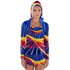 Color Colorful Wave Abstract Women s Long Sleeve Hooded T Shirt