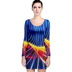 Color Colorful Wave Abstract Long Sleeve Velvet Bodycon Dress