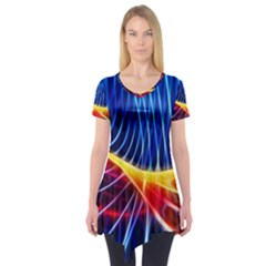 Color Colorful Wave Abstract Short Sleeve Tunic