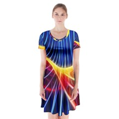 Color Colorful Wave Abstract Short Sleeve V Neck Flare Dress