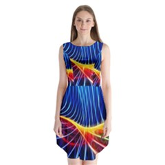 Color Colorful Wave Abstract Sleeveless Chiffon Dress
