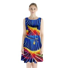 Color Colorful Wave Abstract Sleeveless Chiffon Waist Tie Dress