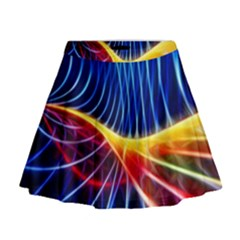 Color Colorful Wave Abstract Mini Flare Skirt