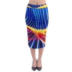Color Colorful Wave Abstract Midi Pencil Skirt