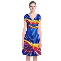 Color Colorful Wave Abstract Short Sleeve Front Wrap Dress