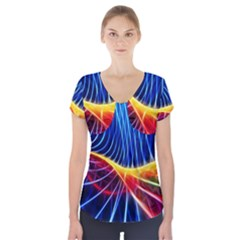 Color Colorful Wave Abstract Short Sleeve Front Detail Top