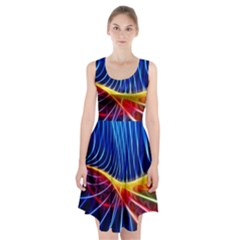 Color Colorful Wave Abstract Racerback Midi Dress