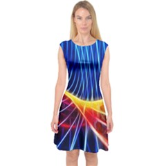Color Colorful Wave Abstract Capsleeve Midi Dress