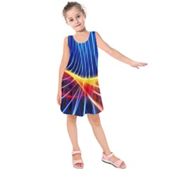 Color Colorful Wave Abstract Kids  Sleeveless Dress